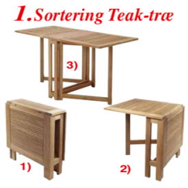 "146 x 70 cm.  Klap-Bord i Teak-træ ""Turin"" (266B)"