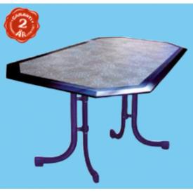 "165 x 95 cm. Bord med med Blå mosaik-look og Blå kant. ""Werzalit"" (282A)"
