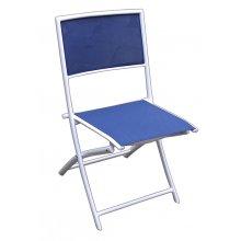 """Hvid ALU Klap-stol med Blå texline """"Bari"""" (104B)"""