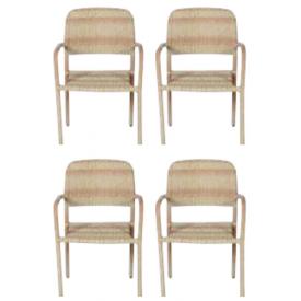 """Stabelbar stol STÅL Poly-Rattan flet  """"Jens"""" (137B) 3 + 1 = 4stole"""