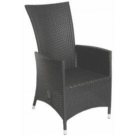 """Høj Læne-stol med trin løs indstilling  Sort  """"Manila"""" (142A)"""
