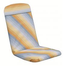 Havehynde 50 x 48 / 75 cm.=6036L med lomme gul og grå skrå-stribet bomuld (Dess.912)