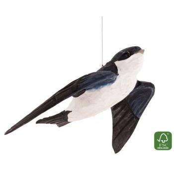 Fugle i træ - Hus Svale (ca. 11 cm. høj)
