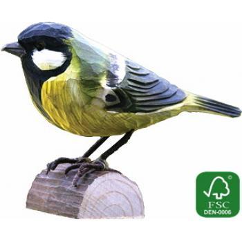 Fugle i træ - Musvit (ca. 10 cm. høj)