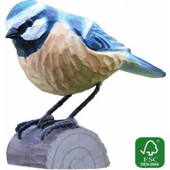Fugle i træ - Blåmejse (ca. 10 cm. høj)