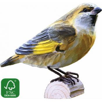Fugle i træ - Grønirisk (ca. 10 cm. høj)