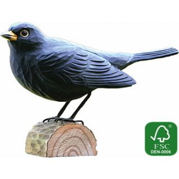 Fugle i træ - Solsort (ca. 11 cm. høj)