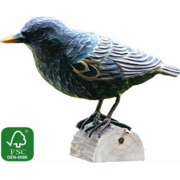 Fugle i træ - Stare (ca. 11 cm. høj)
