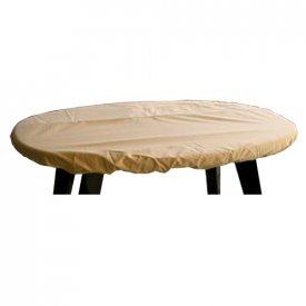 Overtræk til oval bordplade 224x114x10 cm. Ecru
